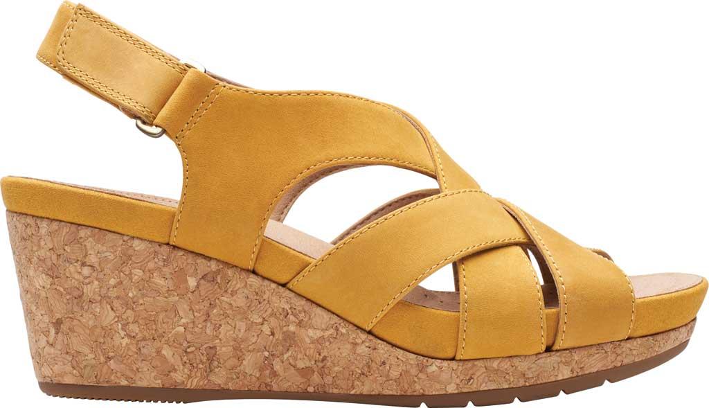 Women's Clarks Un Capri Step Wedge Sandal, Yellow Nubuck, large, image 2