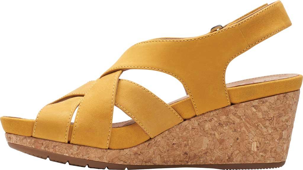 Women's Clarks Un Capri Step Wedge Sandal, Yellow Nubuck, large, image 3
