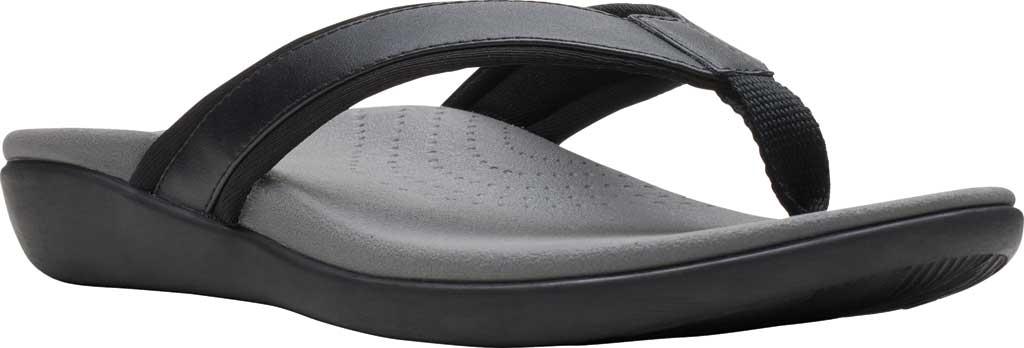 Women's Clarks Brio Sol Thong Sandal, Black PU/Textile, large, image 1
