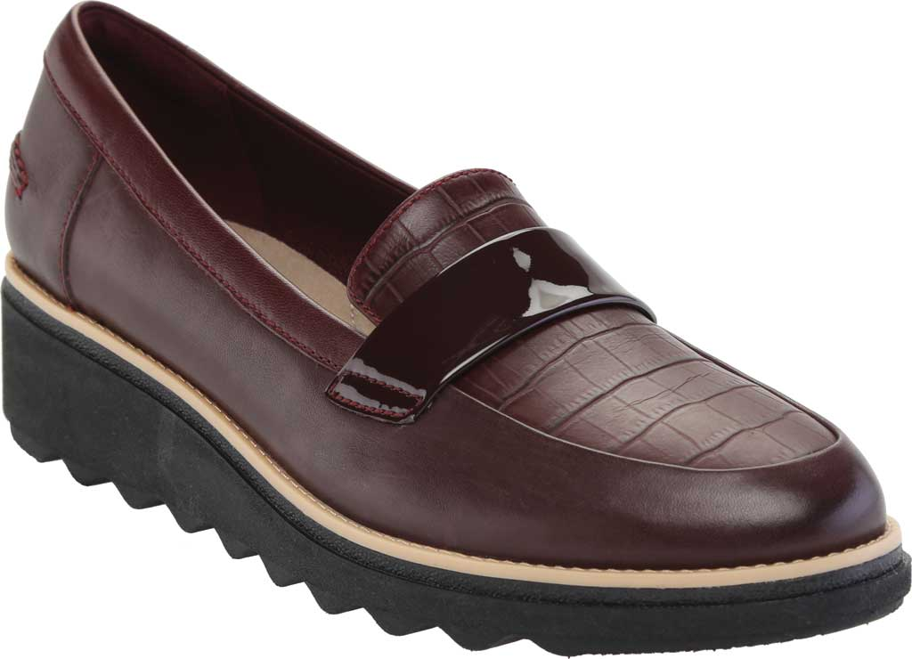 Women's Clarks Sharon Gracie Wedge Loafer, Burgundy Leather, large, image 1