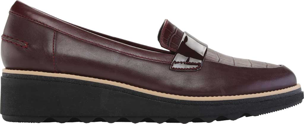 Women's Clarks Sharon Gracie Wedge Loafer, Burgundy Leather, large, image 2