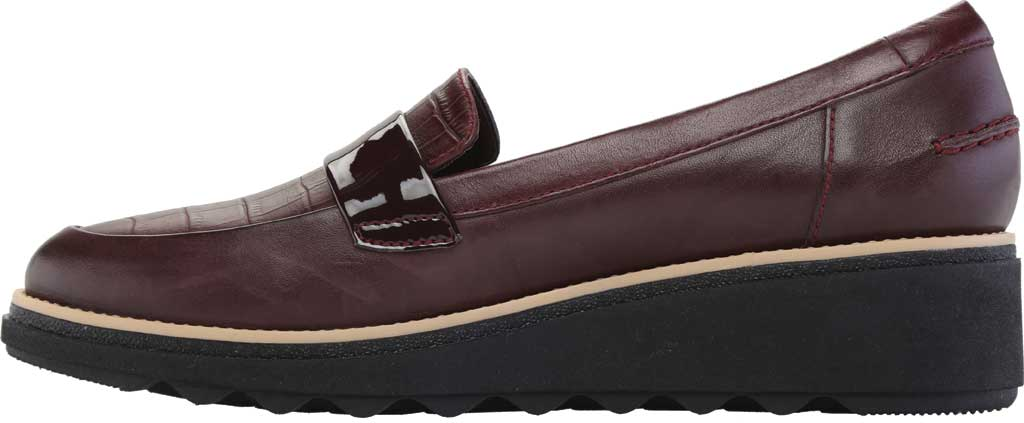 Women's Clarks Sharon Gracie Wedge Loafer, Burgundy Leather, large, image 3