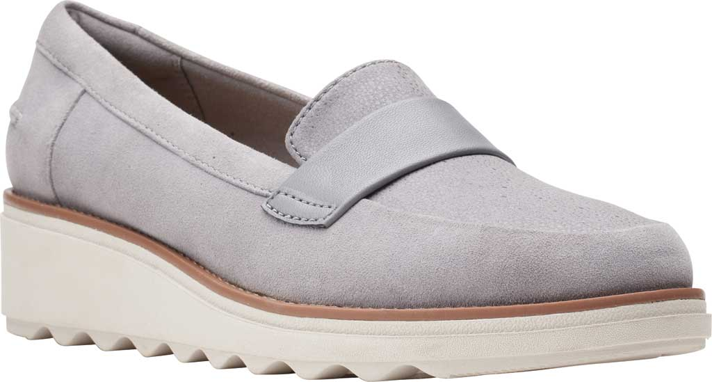 Women's Clarks Sharon Gracie Wedge Loafer, Grey Suede, large, image 1