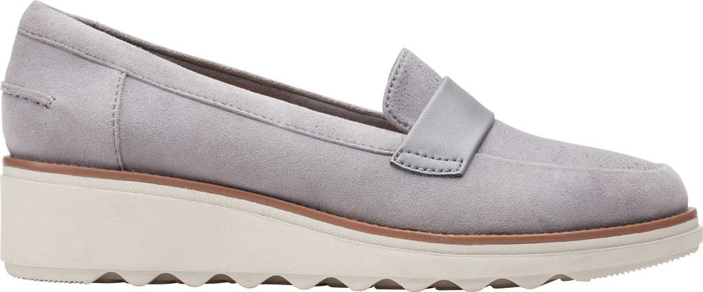 Women's Clarks Sharon Gracie Wedge Loafer, Grey Suede, large, image 2
