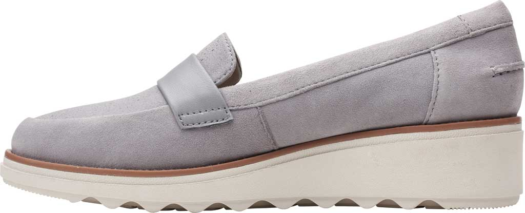 Women's Clarks Sharon Gracie Wedge Loafer, Grey Suede, large, image 3