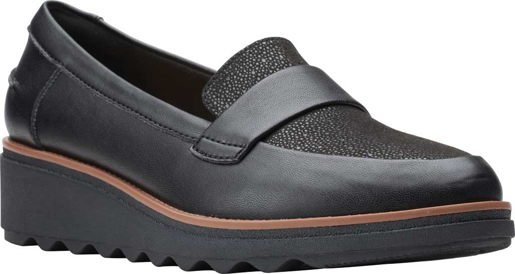 Women's Clarks Sharon Gracie Wedge Loafer, Black Synthetic II, large, image 1