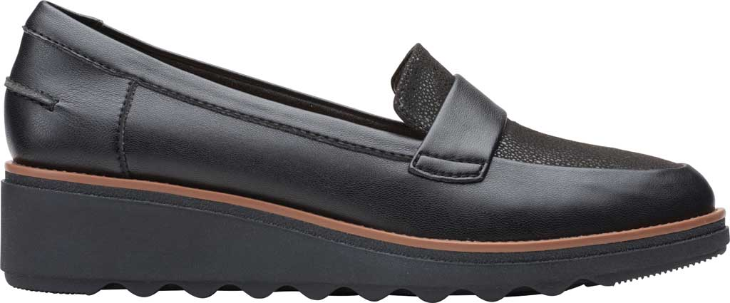Women's Clarks Sharon Gracie Wedge Loafer, Black Synthetic II, large, image 2