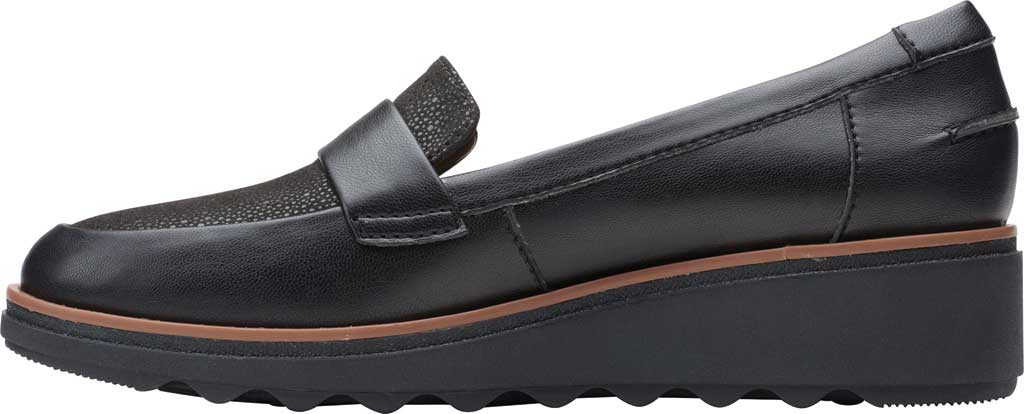 Women's Clarks Sharon Gracie Wedge Loafer, Black Synthetic II, large, image 3