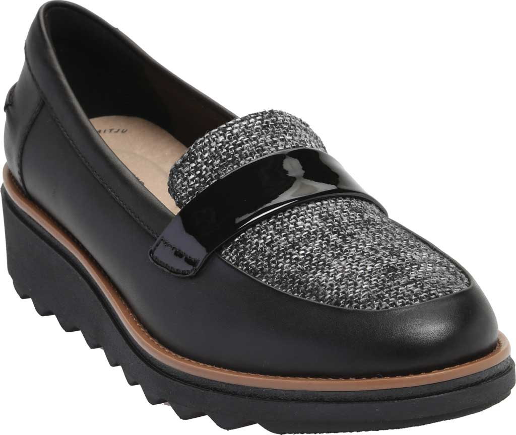 Women's Clarks Sharon Gracie Wedge Loafer, Black Leather/Tweed, large, image 1
