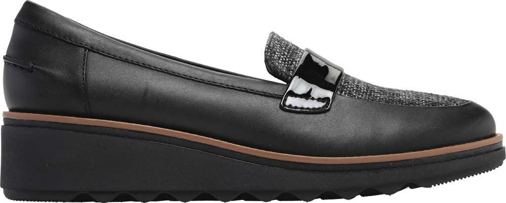 Women's Clarks Sharon Gracie Wedge Loafer, Black Leather/Tweed, large, image 2