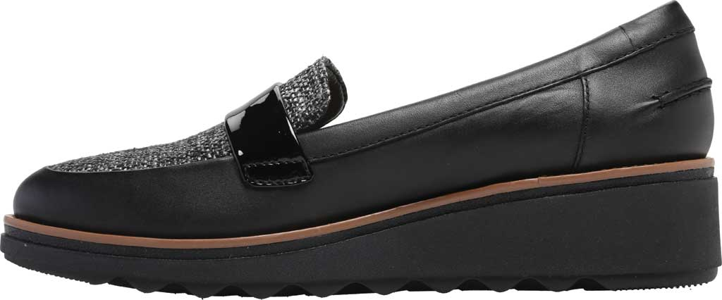 Women's Clarks Sharon Gracie Wedge Loafer, Black Leather/Tweed, large, image 3
