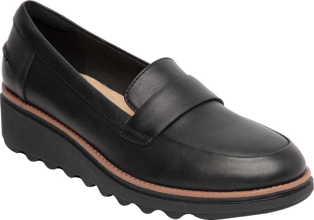 Women's Clarks Sharon Gracie Wedge Loafer, Black/Dark Tan Welt Leather, large, image 1