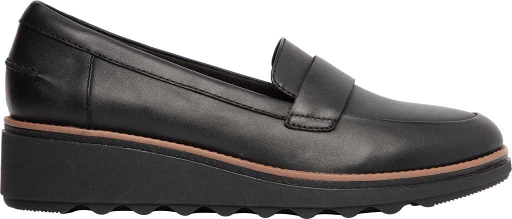 Women's Clarks Sharon Gracie Wedge Loafer, Black/Dark Tan Welt Leather, large, image 2
