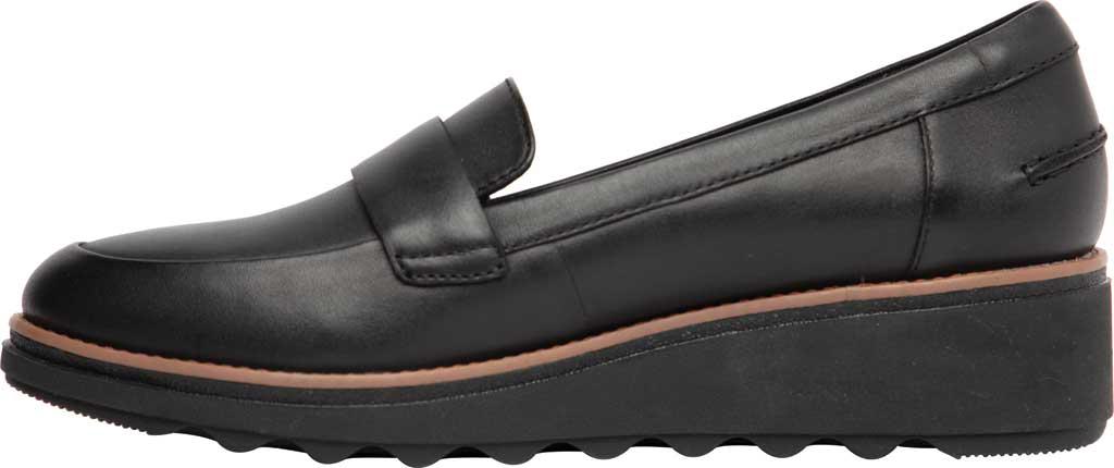 Women's Clarks Sharon Gracie Wedge Loafer, Black/Dark Tan Welt Leather, large, image 3