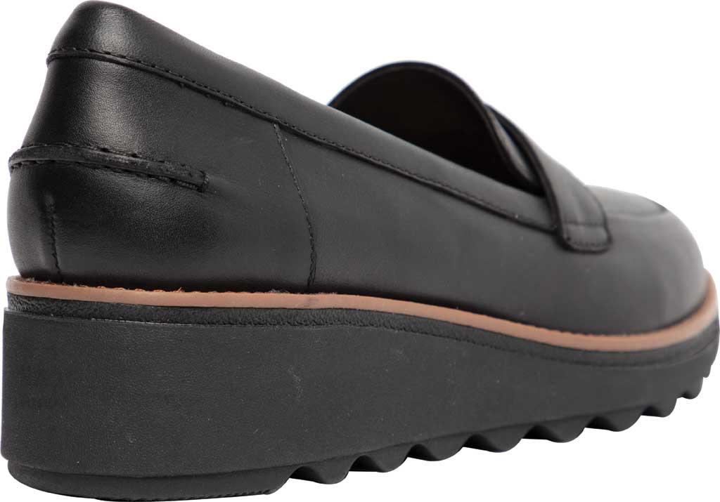 Women's Clarks Sharon Gracie Wedge Loafer, Black/Dark Tan Welt Leather, large, image 4