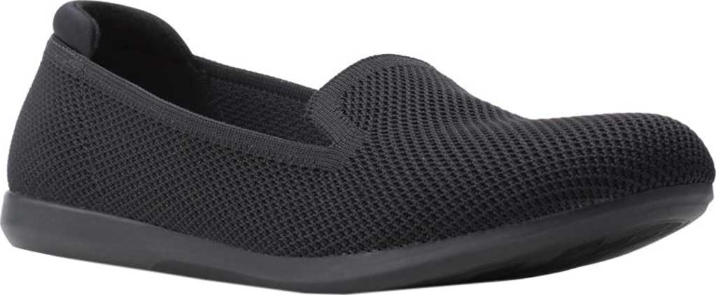 Women's Clarks Carly Dream Knit Loafer, Black Solid Knit, large, image 1