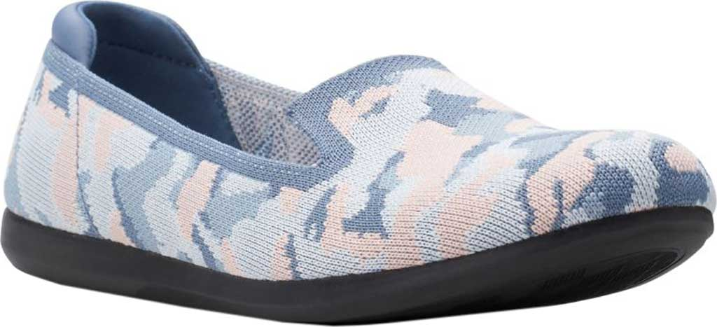 Women's Clarks Carly Dream Knit Loafer, Blue/Pink Camo Knit, large, image 1