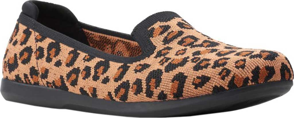 Women's Clarks Carly Dream Knit Loafer, Dark Tan Interest Knit, large, image 1