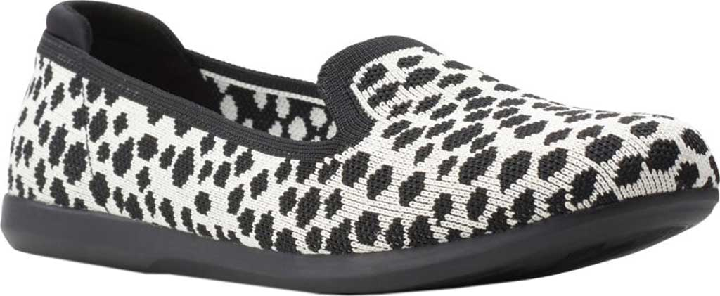 Women's Clarks Carly Dream Knit Loafer, White/Black Interest Knit, large, image 1