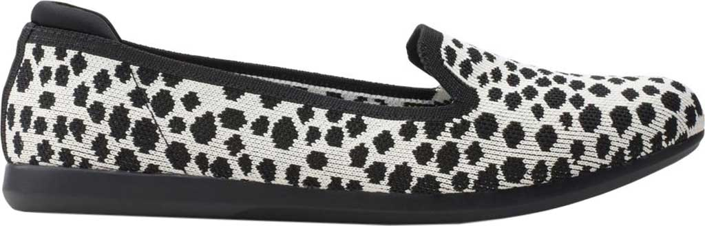 Women's Clarks Carly Dream Knit Loafer, White/Black Interest Knit, large, image 2