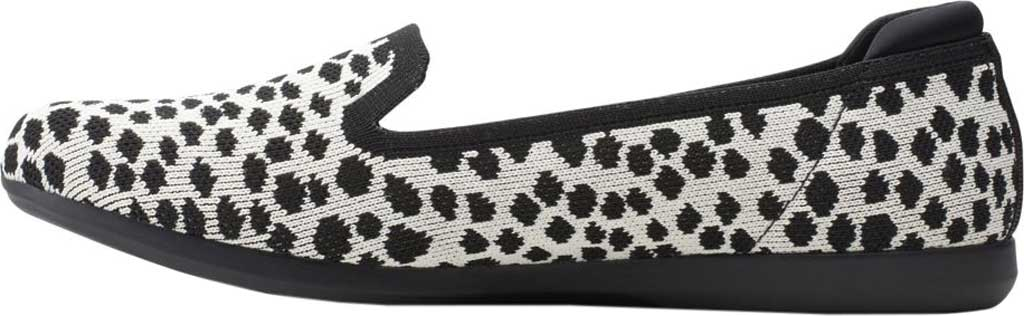 Women's Clarks Carly Dream Knit Loafer, White/Black Interest Knit, large, image 3