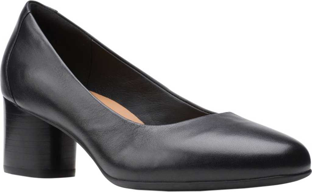 Women's Clarks Un Cosmo Dress Pump, Black Full Grain Leather, large, image 1