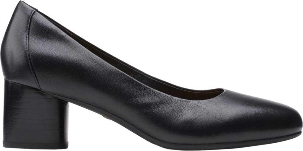 Women's Clarks Un Cosmo Dress Pump, Black Full Grain Leather, large, image 2