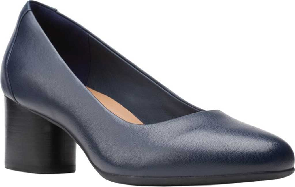 Women's Clarks Un Cosmo Dress Pump, Navy Full Grain Leather, large, image 1