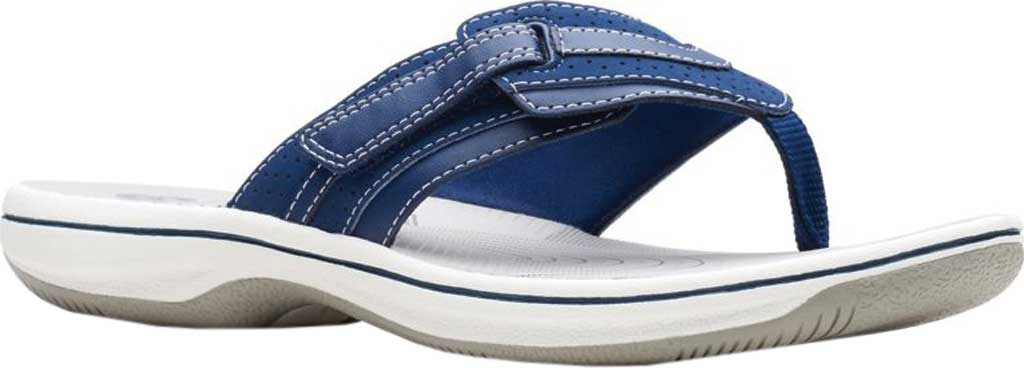 Women's Clarks Brinkley Keely Thong Sandal, Navy Synthetic, large, image 1