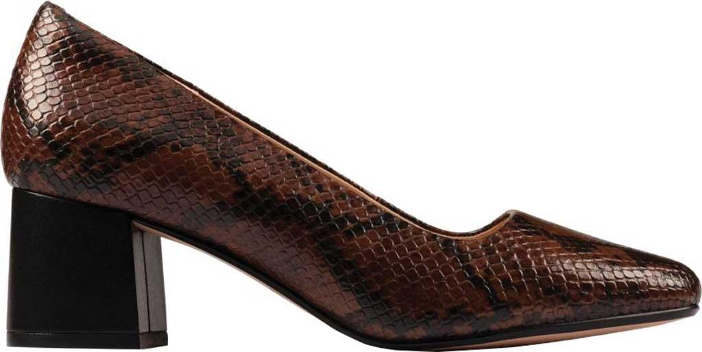 Women's Clarks Sheer Rose 2 Pump, Tan Snake Combi Leather, large, image 2