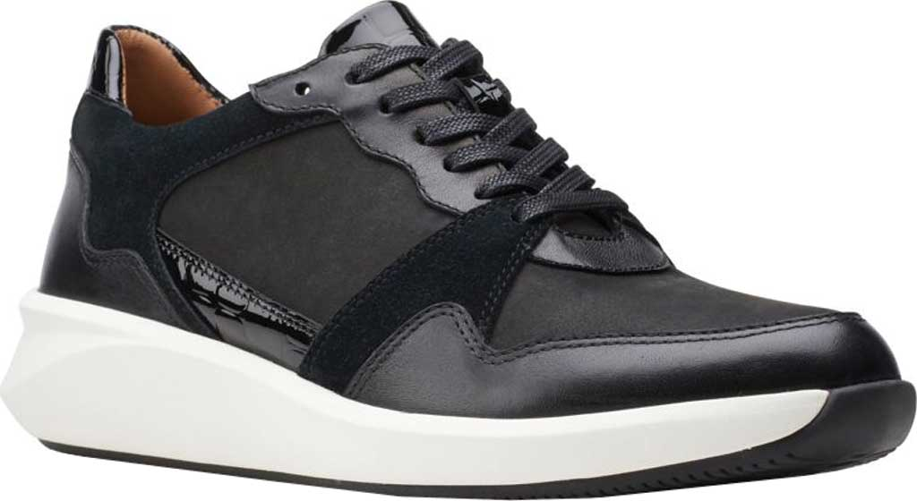 Women's Clarks Un Rio Run Sneaker, Black Nubuck/Leather/Suede, large, image 1