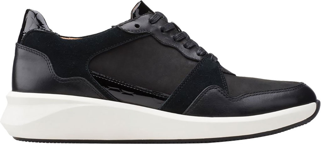 Women's Clarks Un Rio Run Sneaker, Black Nubuck/Leather/Suede, large, image 2
