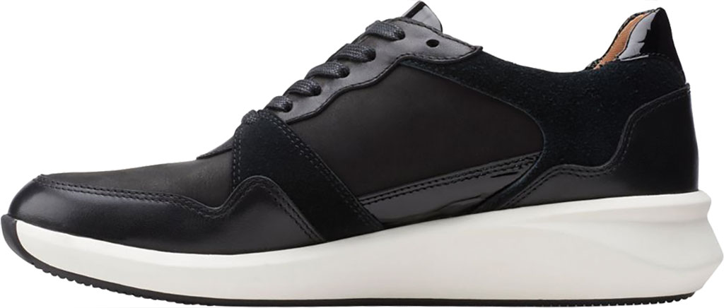 Women's Clarks Un Rio Run Sneaker, Black Nubuck/Leather/Suede, large, image 3