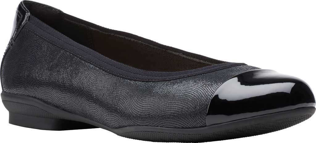 Women's Clarks Sara Orchid Cap Toe Ballet Flat, Black Combi Leather, large, image 1