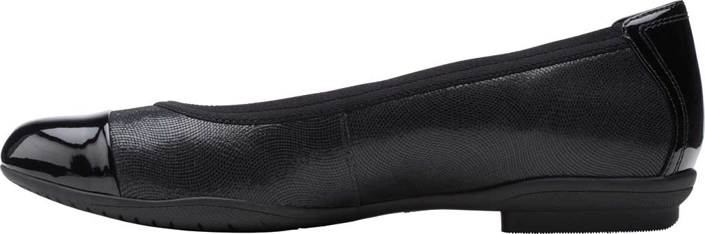 Women's Clarks Sara Orchid Cap Toe Ballet Flat, Black Combi Leather, large, image 3