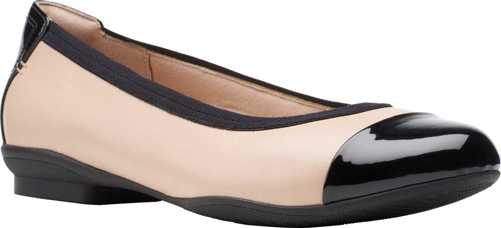Women's Clarks Sara Orchid Cap Toe Ballet Flat, Blush Leather/Patent, large, image 1