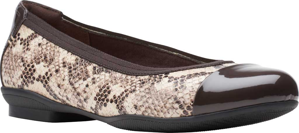 Women's Clarks Sara Orchid Cap Toe Ballet Flat, Taupe Snake Leather/Patent, large, image 1