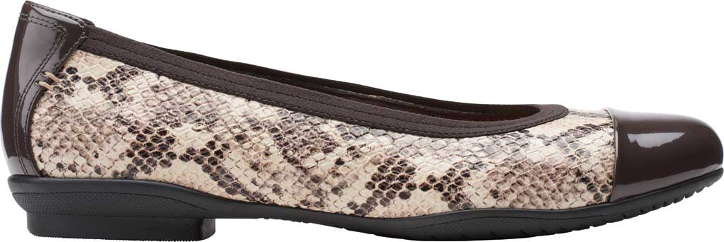 Women's Clarks Sara Orchid Cap Toe Ballet Flat, Taupe Snake Leather/Patent, large, image 2