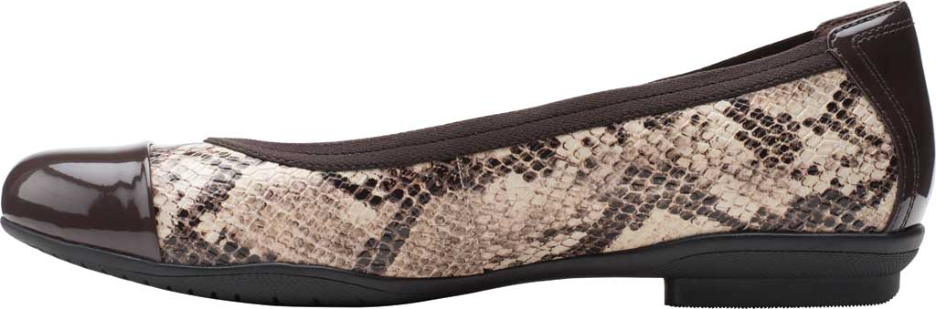Women's Clarks Sara Orchid Cap Toe Ballet Flat, Taupe Snake Leather/Patent, large, image 3