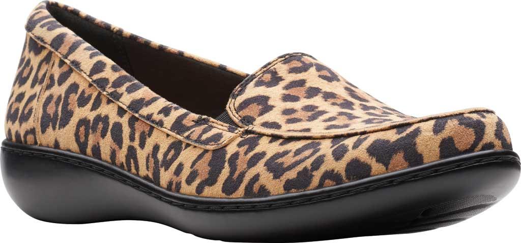Women's Clarks Ashland Jam Loafer, Tan Leopard Suede, large, image 1