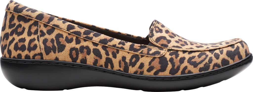 Women's Clarks Ashland Jam Loafer, Tan Leopard Suede, large, image 2