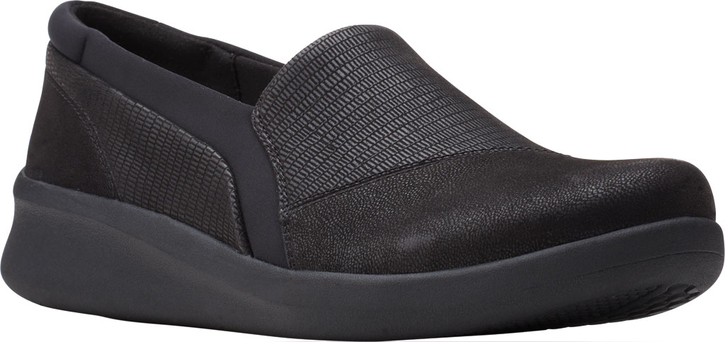 Women's Clarks Sillian 2.0 Eve Sneaker, Black Combi Synthetic, large, image 1