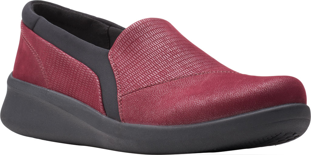 Women's Clarks Sillian 2.0 Eve Sneaker, Burgundy Combi Synthetic, large, image 1