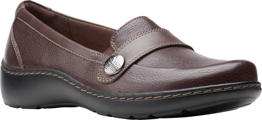 Women's Clarks Cora Daisy Loafer, Dark Brown Tumbled Leather, large, image 1
