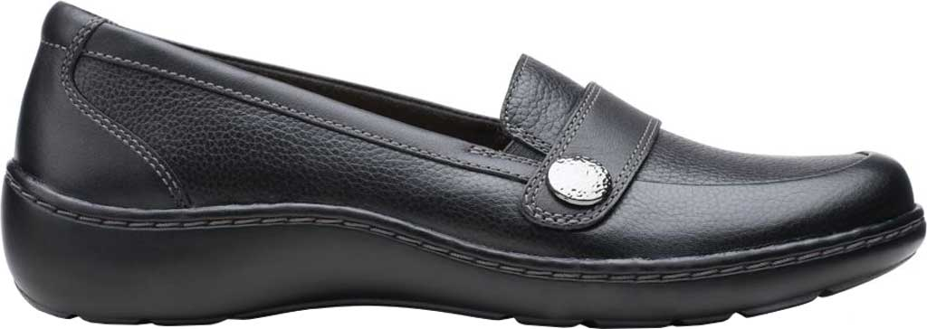 Women's Clarks Cora Daisy Loafer, Black Tumbled Leather, large, image 2