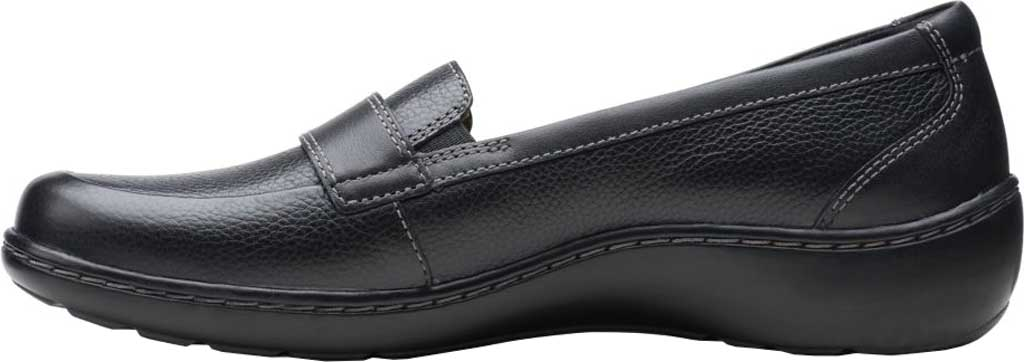 Women's Clarks Cora Daisy Loafer, Black Tumbled Leather, large, image 3