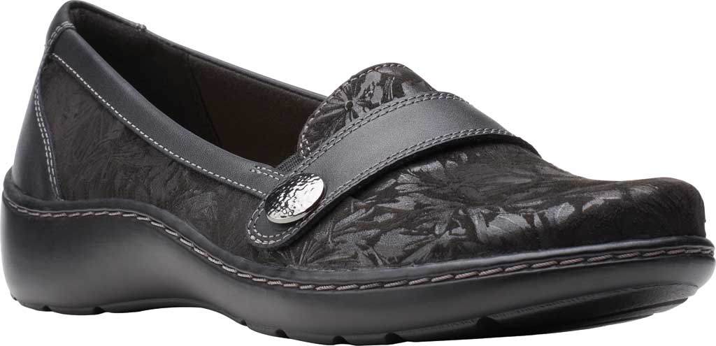 Women's Clarks Cora Daisy Loafer, Black Textile/Leather, large, image 1
