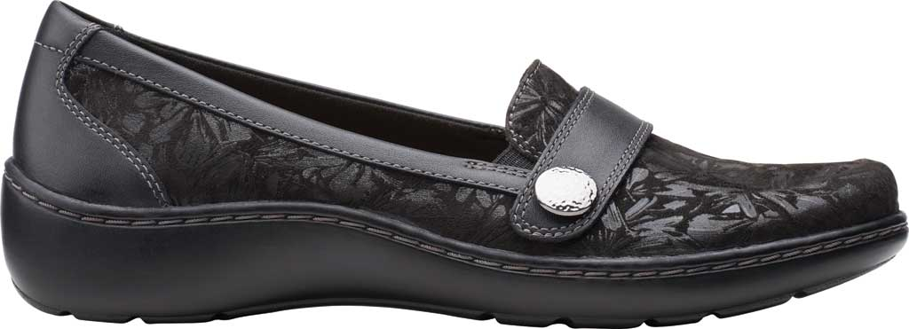 Women's Clarks Cora Daisy Loafer, Black Textile/Leather, large, image 2