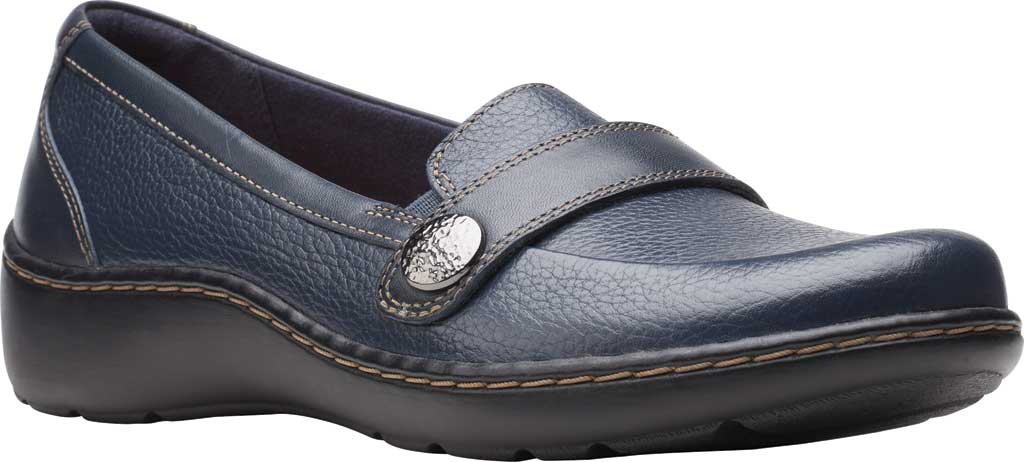Women's Clarks Cora Daisy Loafer, Navy Tumbled Leather, large, image 1