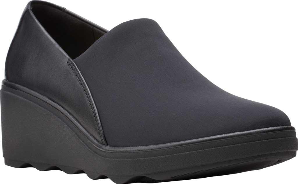 Women's Clarks Mazy Seabury Wedge Loafer, Black Leather/Stretch Combi, large, image 1